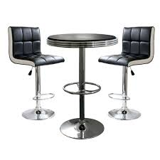 Retro Bar Table Amerihome Retro Style Bar Table Set In Black With Padded Vinyl