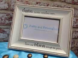 personalised photo frame in a distressed shabby chic cream finish