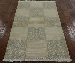Tibetan Hand Knotted Rug New Unique Geometric Hand Knotted Tibetan 3x5 Ivory Gray Wool