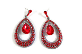Red Chandelier Earrings Fashion Earrings Rhinestones Crystals Dangle Leverback