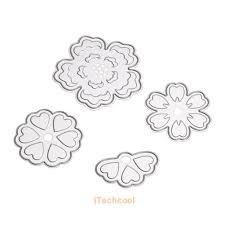 4 x flower cutting dies stencil for diy scrapbooking album paper