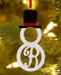 boxed monogram snowman tree ornaments cast ceramic