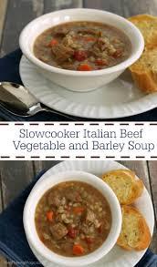 slowcooker italian beef and barley vegetable soup