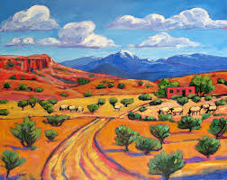 New Mexico landscapes images New mexico landscape with sheep patty baker santa fe jpg