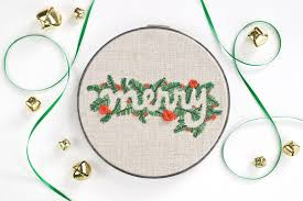 merry word embroidery pattern
