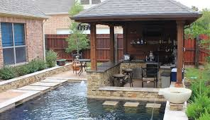 Backyard Patio Covers Small Yard Patio Cover With Outdoor Kitchen And Custom Pool In
