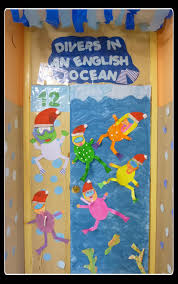 our classroom under the sea themed door adapted for christmas
