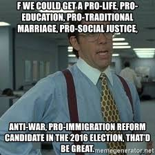 Traditional Marriage Meme - f we could get a pro life pro education pro traditional marriage