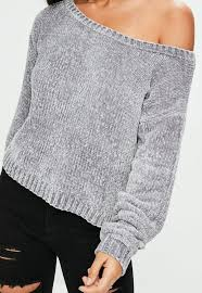 chenille sweater grey the shoulder chenille sweater missguided