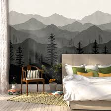 peel and stick wallpaper ombré mountain mural wallpaper peel and stick wallpaper in an