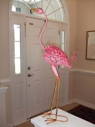 pink flamingo bird metal garden statue stake yard lawn ornament