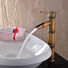 single handle deck mount bathroom bamboo vessel sink faucet bronze