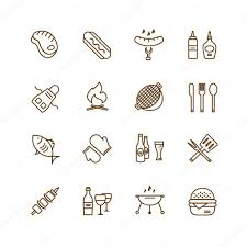 Kitchen Design Elements Barbecue And Food Icons Vector Objects Set Outdoor Kitchen Or