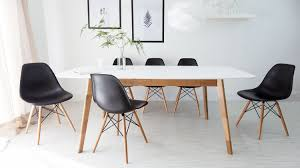 white wooden dining table contemporary home decorating trend
