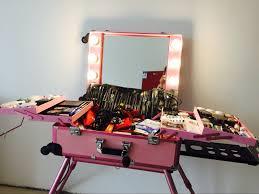 makeup artist light pink led white light rolling studio makeup artist cosmetic box