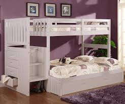 Cambridge Twin Over Full Stair Stepper Bunk Bed White Bed Frames - White bunk beds twin over full with stairs