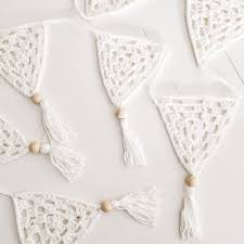 bohemian baby shower white crochet bunting wall hanging baby nursery boho