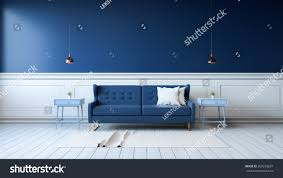 White And Dark Blue Bedroom Modern Interior Living Room Armchairs On Stock Illustration