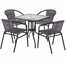 Glass Table Patio Set Mainstays Square Outdoor Glass Top Side Table Patio Furniture