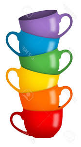best free stack of coffee cups in rainbow colors stock photo mugs