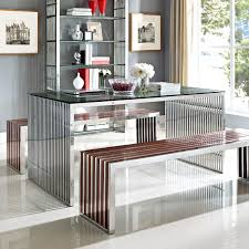 gridiron 59 u2033 stainless steel dining table w waterfall sides