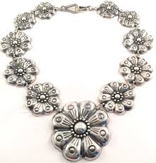 sterling silver flower necklace images Mexico sterling zinnia flower necklace mexican silver store jpg