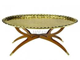 moroccan tea table stand vintage brass tray table oval polished brass with folding stand