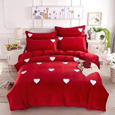 Flannel Duvet Sets Pink Flannelette Duvet Cover Big Red Plain And White Love Pattern