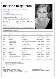 exles of actors resumes actors resume exle exles of resumes