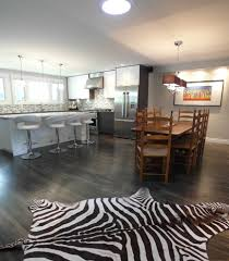 grey hardwood floors dining room contemporary with awning windows