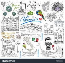 Map Venice Italy by Venice Italy Sketch Elements Hand Drawn Stock Vector 568906981