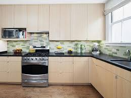 e l shape kitchen decoration using light green glass tile modern