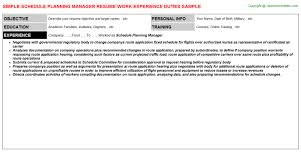 Resume Schedule Schedule Planning Manager Job Title Docs