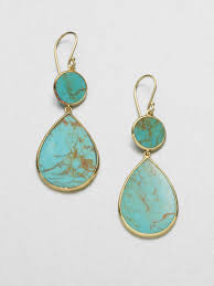 turquoise drop earrings ippolita polished rock candy turquoise 18k yellow gold snowman