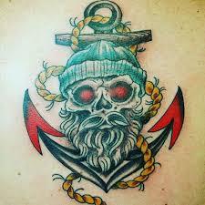 anchor bearded skull nautical sailor by mactheknife80