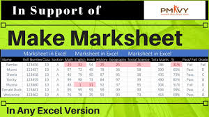 make marksheet in excel microsoft excel training video