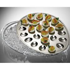 devilled egg platter stainless steel iced deviled egg tray in serving dishes