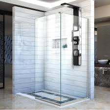 34 Shower Door Shop Dreamline Linea 34 In To 34 In W Frameless Brushed Nickel