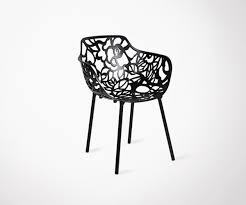 design chaise outdoor chair flore in black steel