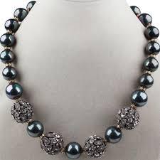 pearl earrings necklace images Black single strand seashell beads and rhinestone beaded fashion jpg