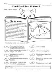 a comprehension worksheet with informational text a bat diagram