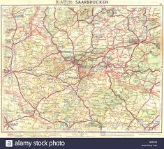 Vintage Map Germany Saarbrucken 1936 Vintage Map Stock Photo Royalty Free