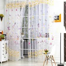 Sheer Panel Curtains Butterfly Floral Pattern Tulle Voile Window Curtain Balcony Sheer
