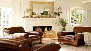 living room decor with brown leather sofa 9 home decoration