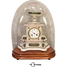 Large Silver Mantel Clock Antique French Onyx Mantel Clock Bell Chime Running Brass U0026 Green