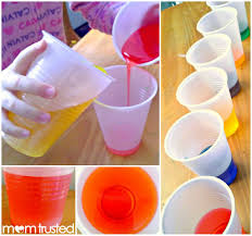 easy peasy preschool color mixing experiement did this with the
