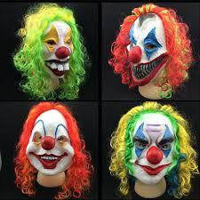 Latex Halloween Costume Horror Halloween Mask Clown Mask Long Curl Colorful Hair Latex