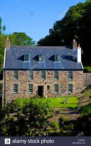 typical jersey stone house jersey channel islands stock photo