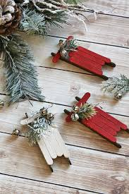 Diy Christmas Ornament Storage Ideas by Handmade Christmas Ornaments Popsicle Stick Sleds Vignettes