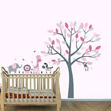 Monkey Nursery Wall Decals Pink Jungle Wall Decals Jungle Stickers Baby